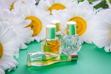 Bottles of perfume with camomile on green background