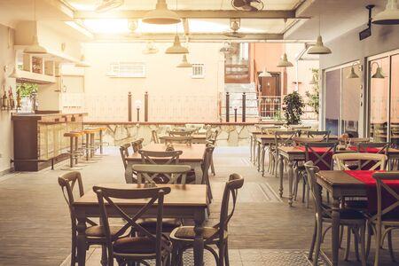 Alanya, Turkey, September 8, 2017. Interior of hotel restaurant. Empty hotel bar in the morning. Design of hotel dining room