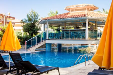 Alanya, Turkey, September 8. Hotel bar situated over swimming pool. Villa Sunflower. Summer vacation concept