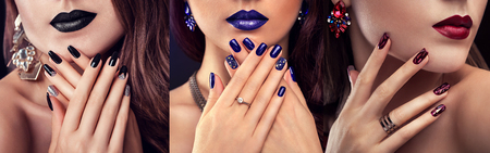 Beauty fashion model with different make-up and nail design wearing jewelry on black background. Set of manicure. Three stylish looks Archivio Fotografico