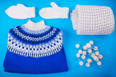 Winter female outfit. Set of clothes and accessories on blue background