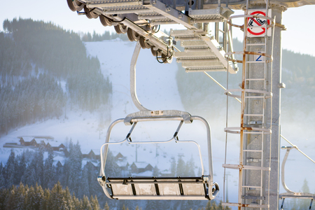 Chairlift in Bukovel ski resort in Carpathian mountains