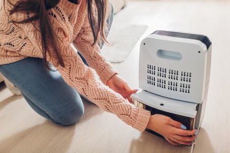Woman changing water container of dehumidifier at home. Dampness in apartment. Modern air dryer technology Foto de archivo