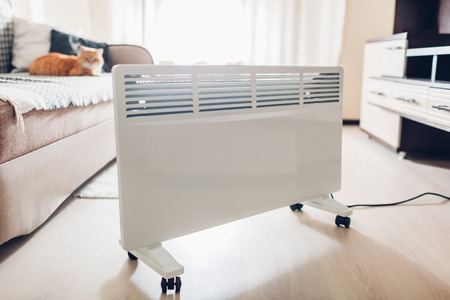 Heizung zu Hause verwenden. Heizsaison. Katzenerwärmung per Gerät im Wohnzimmer Standard-Bild