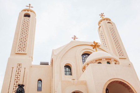 Christian Orthodox Coptic Church in Sharm El-Sheikh, Egypt. Exterior on rainy day