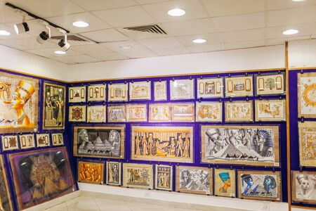 January 27, 2019 - Egypt, Sharm El-Sheikh. Papyrus painting displayed in store Publikacyjne