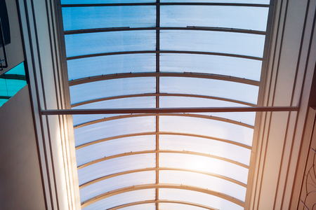 Glass roof of modern building. Interior design of art gallery. Architecture