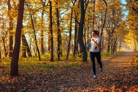 Runner exercising in autumn park. Woman running with water bottle at sunset. Active lifestyle. Healthcare Stockfoto