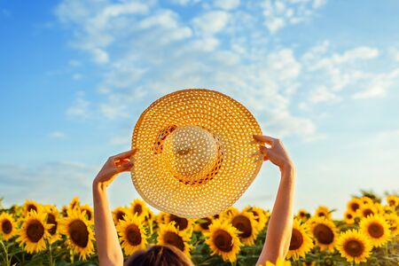 Summer vacation accessories. Woman walking in blooming sunflower field raised straw hat up against sunset sky feeling free and happy.
