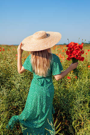 Woman gathered bouquet of poppies flowers walking in summer field. Stylish girl in straw hat admires landscape. Vacation trip