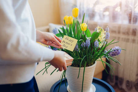 Happy Mother's day. Woman holds greeting card with blooming spring yellow blue flowers at home. Present for holiday with 2021 colors Archivio Fotografico