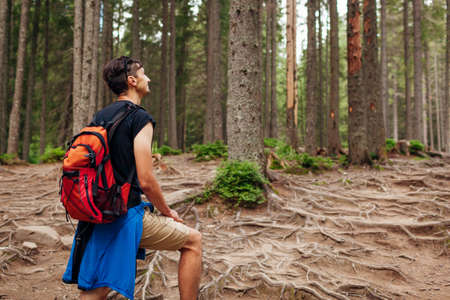 Man hiker walking through mountain forest path surrounded with roots in Carpathians. Traveler with backpack resting. Trip to summer Ukraine