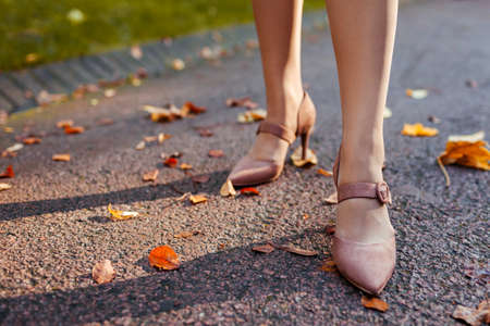 Close up of female shoes. Woman wears stylish brown high-heeled shoes in autumn park standing among falling leaves. Fashion