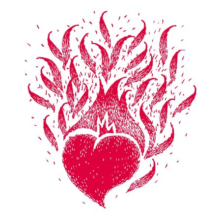 Red burning heart. Vector vintage handmade illustration. Fire of love. Flame of heart. Sketch for tattoo, poster, print, t-shirt. Art style design.