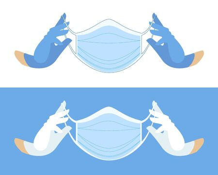 hands in white blue medical gloves. Medical face mask in gloved hands. Protective mask against viruses and bacteria. medical care. professional medical accessories. gloved hands wearing a face mask.
