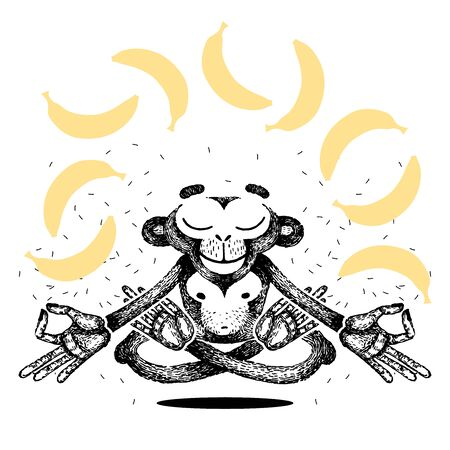 Monkey is meditating and levitating. Monkey sits in a lotus position and dreams of bananas. Vector hand made illustration. for poster, print, t-shirt. 向量圖像