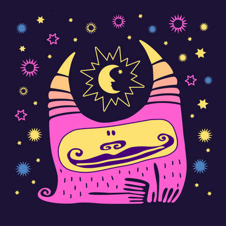 Cute animal smile. Colorful kawaii monster with horns on dark background with stars, sun, moon. Cartoon vector handmade illustration. Little pink character.