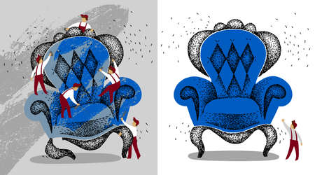 restoration of vintage furniture. antiques before and after repair. refinish vintage blue armchair. handmade raster illustration. people repair blue chair. Repair team is repairing vintage furniture.