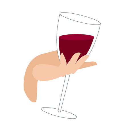 a glass of wine in the hand. female hand holds a glass of red wine. alcoholic drink in a glass. illustration in flat style on a white background. a full glass of wine in the graceful hand of a girl. Illustration