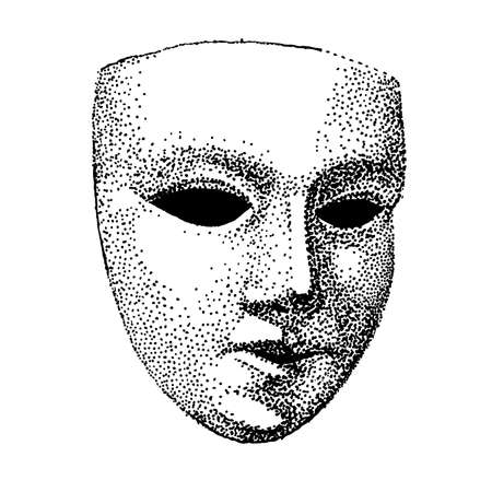 Theater mask tattoo vector. Hypocrite face. Actor tattoo. Black and white template. vintage portrait. handmade illustration.