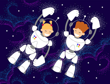 young astronauts conquer space. children, boy and girl in white spacesuits fly in outer space to study the starry sky in the cosmic depths. Ilustracje wektorowe