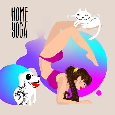 home yoga with pets. Dog and cat with a girl who is standing in the scorpion asana. physical activity at home. girl doing yoga in pose Vrischikasana. Vectores