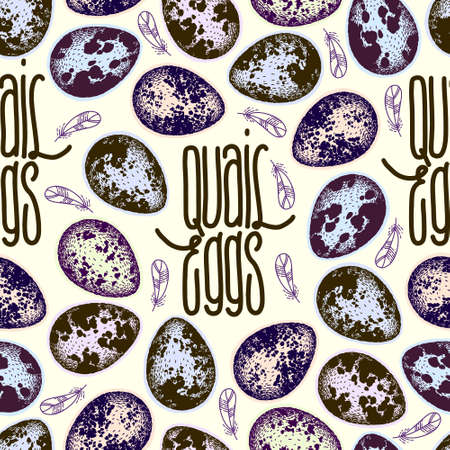 Vector seamless pattern with quail eggs and feathers. Hand drawn sketch. Handwritten inscription. Lettering. Cute print. Craft style.