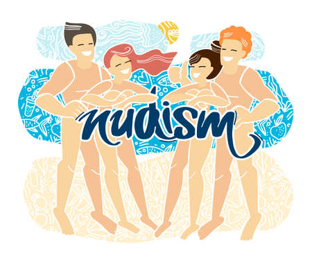 Rest naked. Handwritten inscription Nudism. Doodle style. Flat vector illustration. Nudist beach. Nude people relax on a nudist beach.