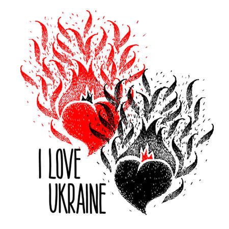 I Love Ukraine. Two hearts black and red color with handmade lettering. celebration Independence day of Ukraine, Constitution day. national identity. heart love.