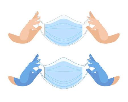 Medical mask in gloved hands. Protective face mask against viruses and bacteria. clean hands and hands in blue gloves. professional medical care accessories. Vector flat illustration.