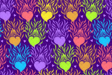 Seamless pattern with colorful hearts. Cute handmade illustration. Fire hearts. Flame heart. Seamless backdrop can be used for crafts, arts, wallpapers, web, fabrics, prints.