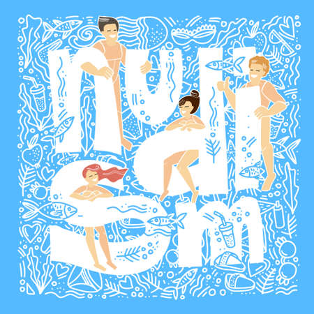 Nudism. Nudist beach. Nude people relax on a nudist beach. Rest naked. Handwritten inscription Nudism. Doodle style. Flat vector illustration.