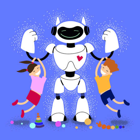 Babysitter robot with children vector illustration. Robot Nanny with Kids. Robotic friend. Kind robot home futuristic assistant plays with children.
