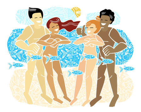 Multinational party people relax on a nudist beach. Rest naked. Doodle style. Flat vector illustration with progressive youth. Nudism.