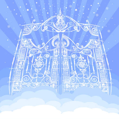Vector heavenly gates in Eden. Gate to Paradise In clouds. entrance to the kingdom of heaven. vector illustration in white and blue color of Gods dwelling. meeting with God, a symbol of Christianity.