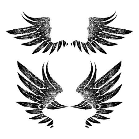 vintage black graphic open wings in retro style on a white background. set of decorative feathers. Design elements for logo, label, emblem, sign, trademark, tattoo, art. Vector illustration. Vettoriali