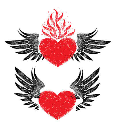 vintage graphic red heart with open black wings in retro style on a white background. Vettoriali