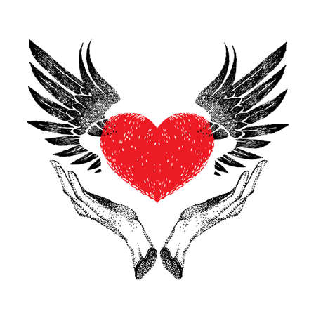 vintage graphic red heart with open black wings in hands. decorative emblem for  label, sign, trademark, tattoo, art, design. Vector illustration in retro style on a white background.