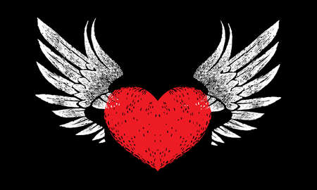 red heart with open white wings on a black background in retro style. decorative design elements for logo, label, emblem, sign, trademark, tattoo, art. Vector illustration.
