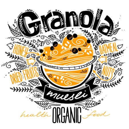 granola in doodle style with lettering on white. vector illustration with breakfast organic food muesli. healthy food concept. oatmeal porridge recipe 일러스트