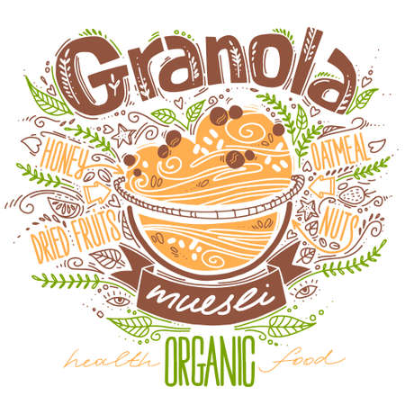 granola in doodle style with lettering on white. vector illustration with breakfast organic food. healthy food concept. oatmeal porridge recipe. 일러스트