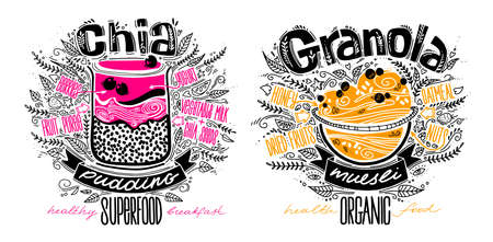 vector set of chia pudding and granola in doodle style with lettering on white. healthy food concept lifestyle. chia seeds smoothie, muesli recipes.