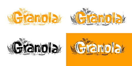 Set of Granola logo template with handwritten calligraphy lettering composition, doodle style. Muesli, organic health food concept. Cute hand made vector illustration for brand, package, advertisement