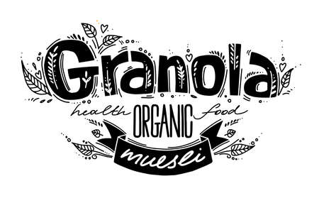 Granola template with handwritten calligraphy lettering composition and ribbon in doodle style. Muesli, organic health food concept. Black and white hand made vector illustration for package.