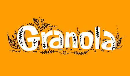 Granola template with handwritten calligraphy lettering composition in doodle style. Muesli, organic health food concept. vector illustration.