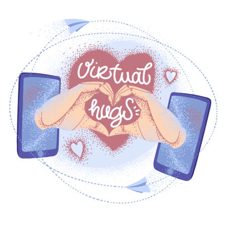 Virtual hugs icon, vector modern calligraphy with phones, hands and heart. Hugging phrase, social media connection. Virus-free hugs, social distancing