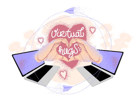 Virtual hugs, vector modern calligraphy with laptops, hands and heart. Hugging phrase, social media connection. Virus-free hugs from social distance.