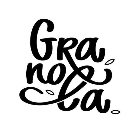 Granola logo vector. Lettering composition with grains. Black and white handwritten calligraphy, typography. Healthy food logotype for package, label.