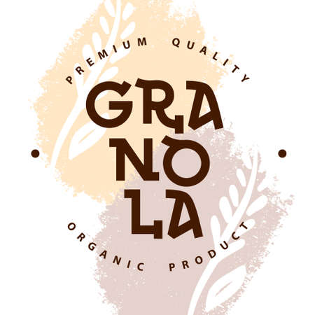 Granola logo packaging template. Organic product premium quality. Lettering with spikelets. Geometric healthy food logotype for package, label, emblem