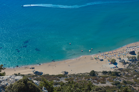 Top view of the Tsambika beach on the Rhodes island in Greece